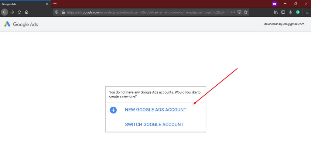 New Google Ads Account