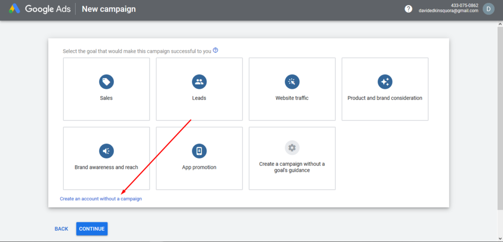 Create an Account Without a campaign