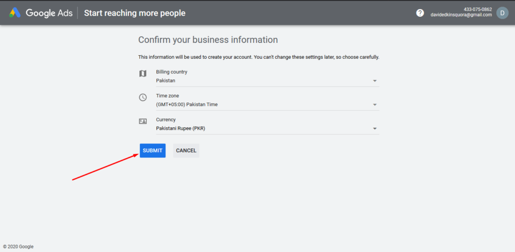 Confirm your business information
